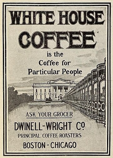 Advertisement for White House Coffee in the Mirror, a publication of Waltham High School, June 1916 from Archive.org