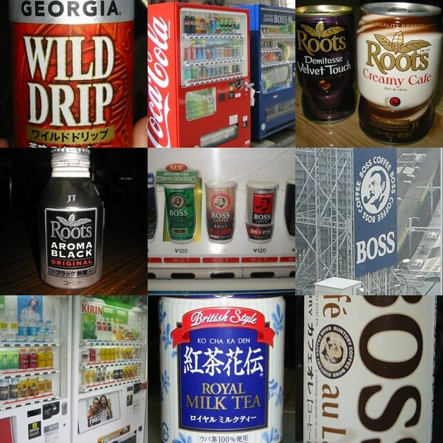 photo collage of Japanese coffee labels