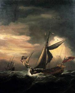 shipping in heavy seas by Willem van de Velde - from web gallery of art
