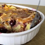 Clafoutis - French baked dessert with apricots and cherries