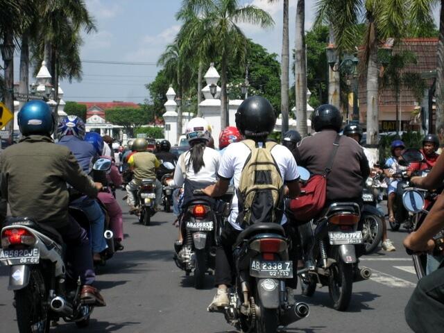 Street scene in Yogyakarta Indonesia
