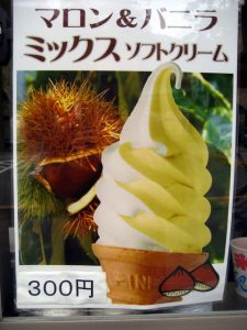 Chestnut ice cream, a seasonal speciality. Hakone, Japan