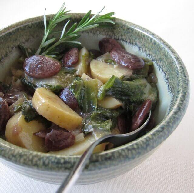 Escarole, bean and potato soup