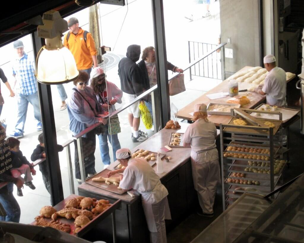 Photo of bakers making special breads at Boudin in San Francisco