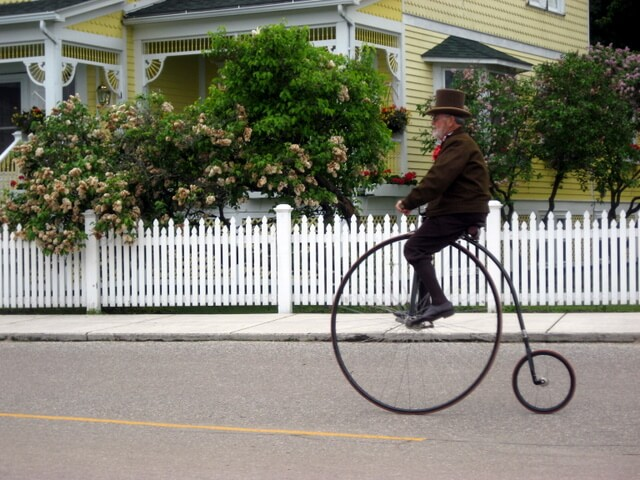 High-wheeled bicycle on Mackinac Island