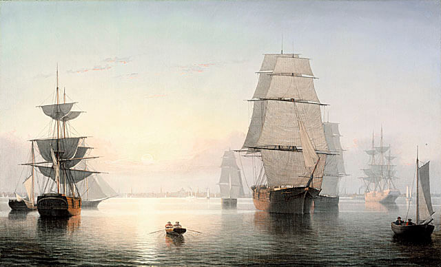 Painting by Fitz Henry Lane - Boston Harbor, Sunset - from LACMA