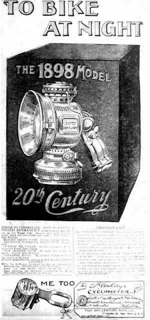 TO BIKE AT NIGHT advertisement from 3/27/1898 New York Herald