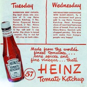 Detail of Heinz tomato ketchup advertisement - Ladies' Home Journal June 1948, from Internet Archive