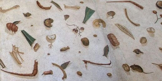 Unswept floor mosaic from ancient Rome