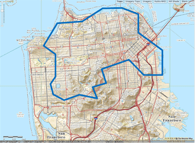 Map of San Francisco with port boundaries. Base map from USGS.