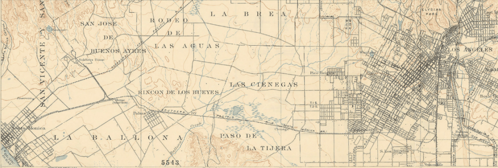 Detail of a USGS map of western Los Angeles from 1900