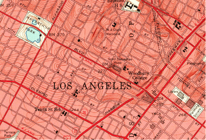 Wilshire 1953 - USGS Hollywood Map