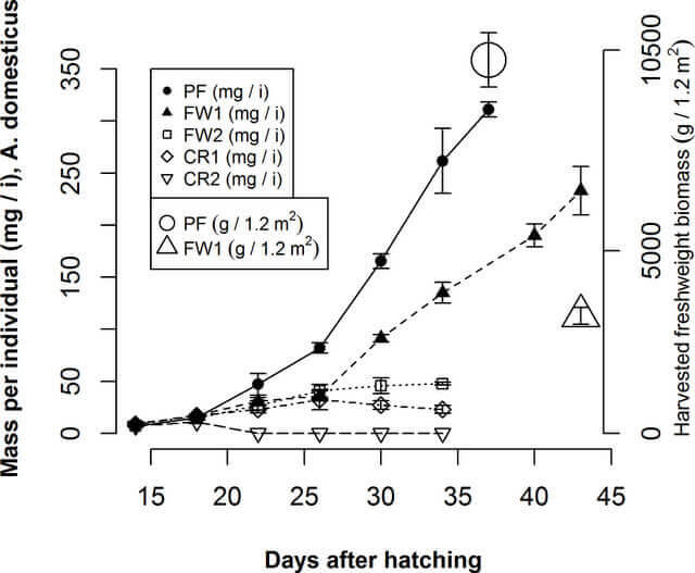 Chart of mass of crickets and harvested mass versus days after hatching