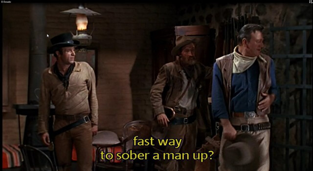 El Dorado - James Caan and John Wayne - fast way to sober a man up
