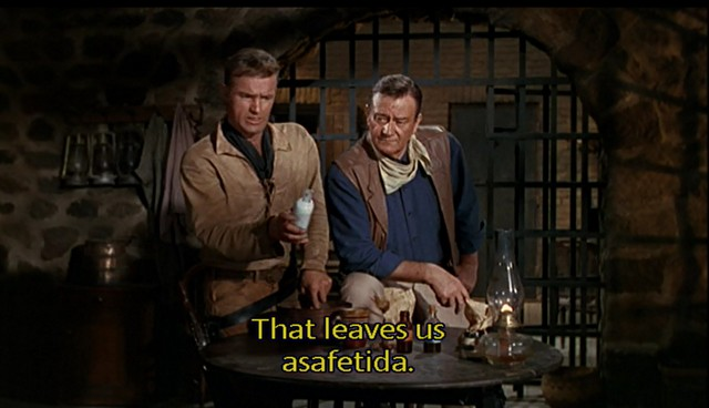 El Dorado - James Caan and John Wayne - that leaves asafoetida