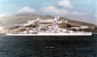 USS Oklahoma battleship passes Alcatraz Island