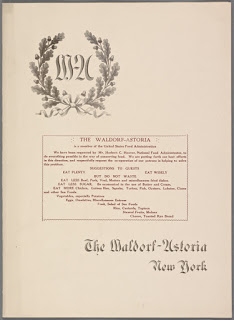 Cover page of 1918 menu at the Waldorf-Astoria, from Buttolph Collection of Menus at NYPL
