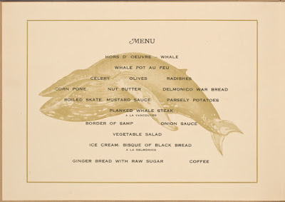 Menu for Whale Steak Luncheon, from Buttolph Collection at NYPL
