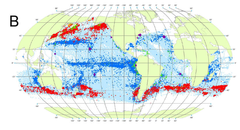 Fig 16B in Spatial and Seasonal Distribution of American Whaling and Whales in the Age of Sail.g016 1825–1849 (B)