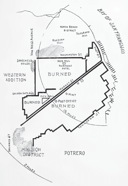 Map of burned areas from History of San Francisco Earthquake p 119