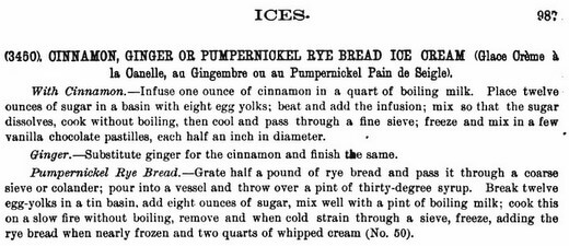 Cinnamon, ginger or pumpernickel ice cream from the Epicurean by Charles Ranhofer