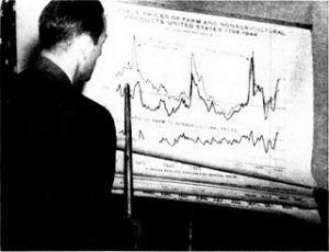 Person pointing at a chart (from the Internet Archive)