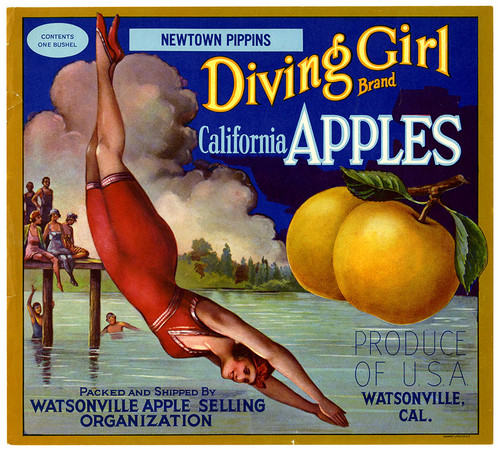 Diving Girl fruit crate label from California Historical Society on Flickr Commons
