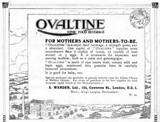 Advertisement for Ovaltine Tonic Food Beverage, 1920