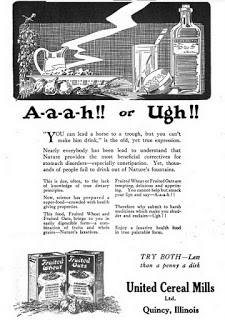 Advertisement for United Cereal Mills, 1920