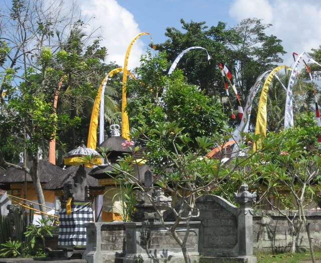 Banners at family temple in Ayunan, Bali