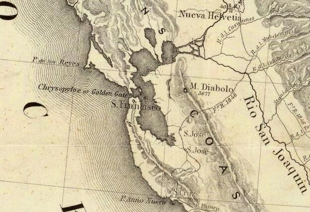 detail of map of San Francisco Bay from David Rumsey Collection image number 1857001