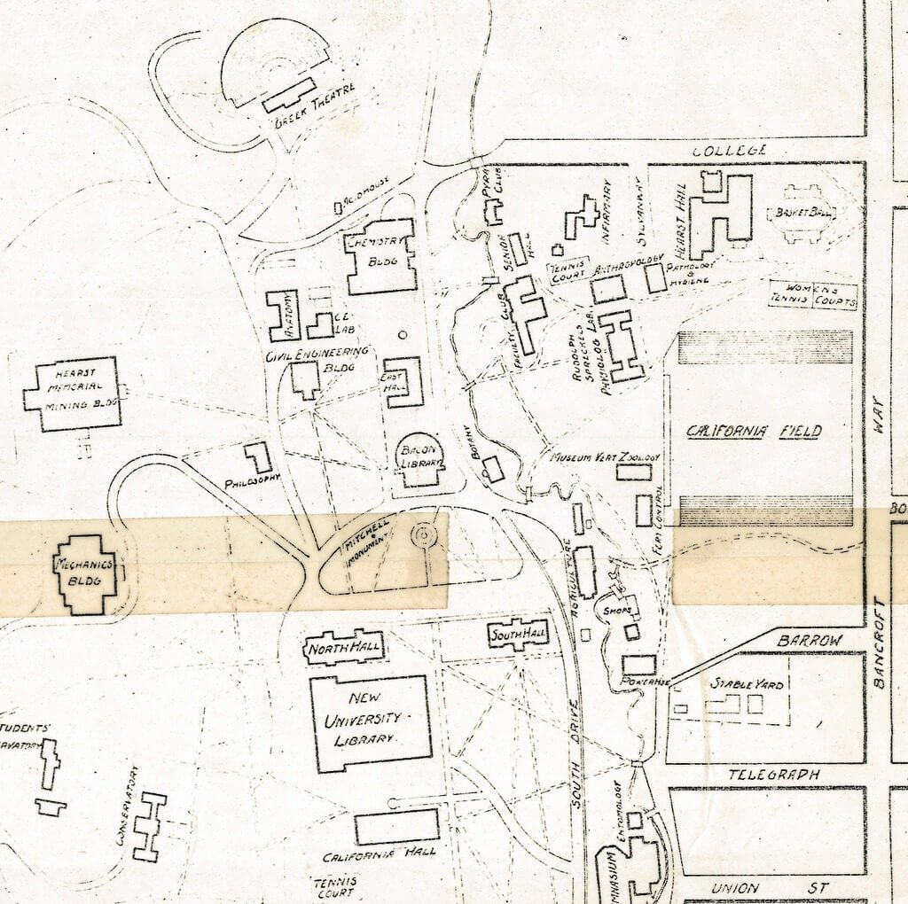 June 1908.Scale not given.1 map : photocopy ; 34 x 23 cm.Transfer line print.Shows campus buildings, roads, paths and creeks.Oriented with north toward upper left.http://oskicat.berkeley.edu/record=b11184648~S1