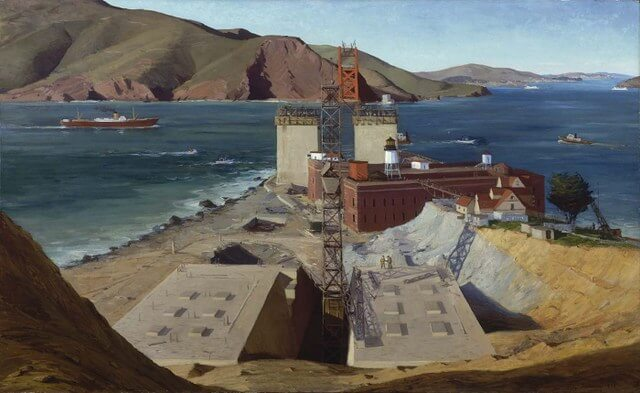 golden gate bridge under construction by ray strong 1934 from si.edu 640x393