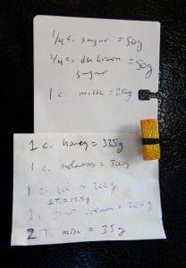 List of food weights on my refrigerator