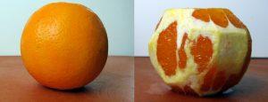 Unpeeled and peeled orange