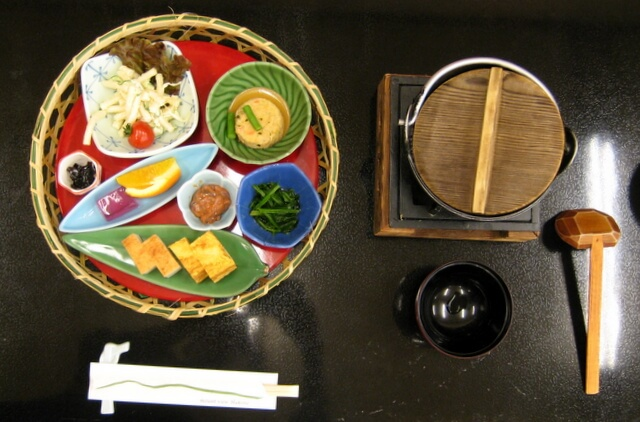 The breakfast table at Mount View hotel in the Hakone region of Japan