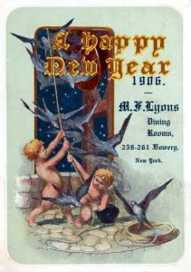 Cover for NEW YEAR'S DAY DINNER at M.F.LYONS DINING ROOM at 259 BOWERY, NEW YORK