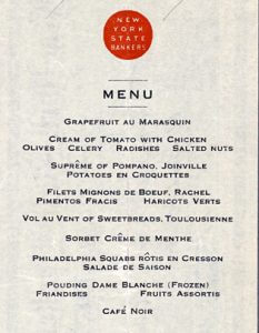 Detail of Menu for NY State Bankers' Association dinner, April 1913 - from NYPL Menu Collection