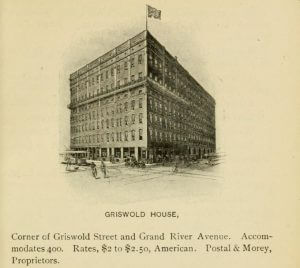 Drawing of Griswold House, from Detroit, The city of the strait (1901)