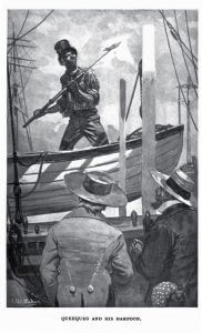 Queequeg and his harpoon - Moby Dick by Herman Melville - from Wikimedia Commons