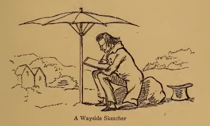 A Wayside Sketcher, drawing by W.M. Thackeray from Thackerayana (1875) - page 473