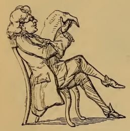 A reader, drawing by W.M. Thackeray from Thackerayana (1875) - page 264