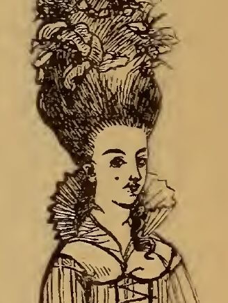 Big hair, drawing by W.M. Thackeray from Thackerayana (1875) - page 325