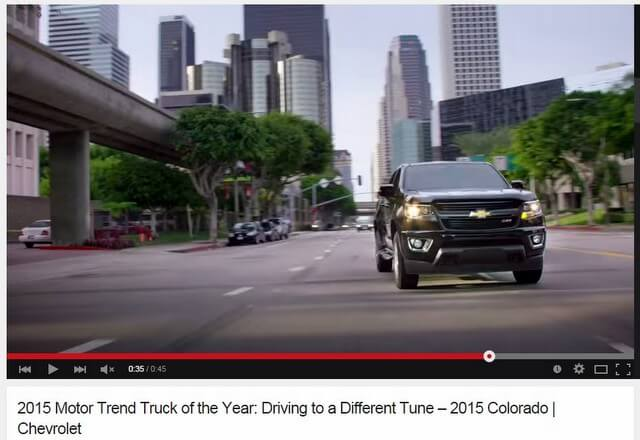 Screen capture from commercial for 2015 Chevrolet Colorado