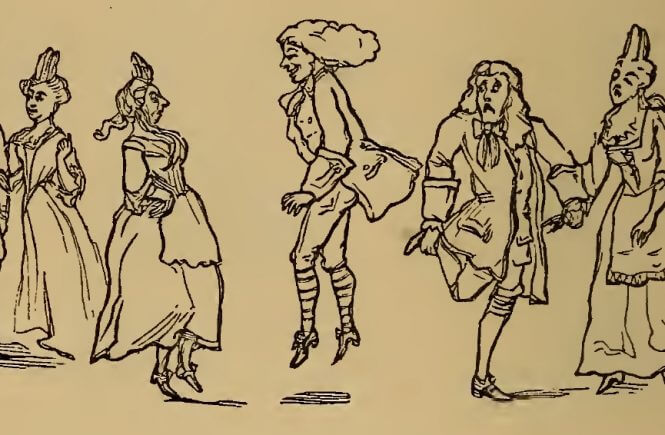 Dancers, drawing by W.M. Thackeray from Thackerayana (1875) - page 302