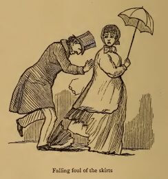 Falling foul of the skirts, drawing by W.M. Thackeray from Thackerayana (1875) - page 488