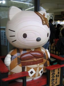 Hello Kitty character helps to sell Hakone wood-crafts