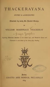Inside cover page of Thackerayana by Joseph Grego