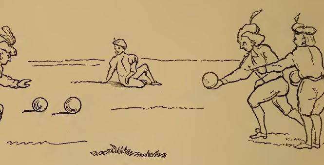 Lawn bowling, drawing by W.M. Thackeray from Thackerayana (1875) - page 190