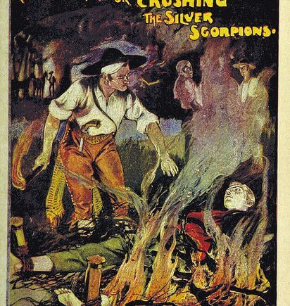 """Mad Tom's Mission; or Crushing the Silver Scorpions"", book cover from the British Library"